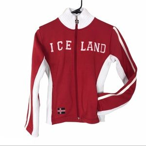 Drifa ICELAND red long sleeve zip up coat vintage